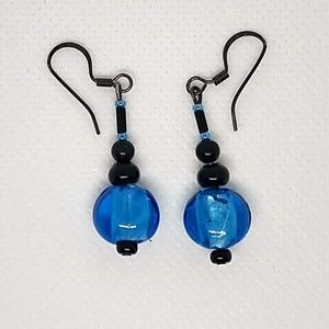 Blue and Black French Hook Earrings
